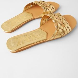 Zara woven metallic slide sandals
